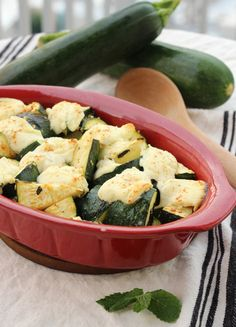 Baked Zucchini and Ricotta Casserole - sweet ricotta baked atop perfectly seasoned zucchini make for the perfect side dish! Plus it only takes 5 minutes to prep!