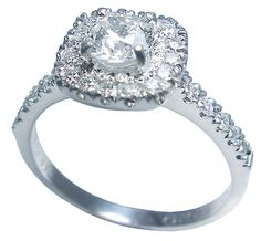 diamond ring and cluster diamonds with side diamonds in white gold by Petersens Jewellers Christchurch