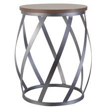 Round Metal Side Table with Wood Veneer Top