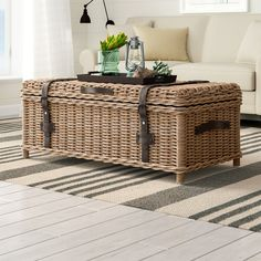 Beachcrest Home Edwards Coffee Table with Storage Color: Grey Wicker Coffee Table, Unique Coffee Table, Cool Coffee Tables, Coffee Table With Storage, Round Coffee Table, Coffee Table Design, Coffee Table Inspiration, Cosy Home, Coffee Table Wayfair