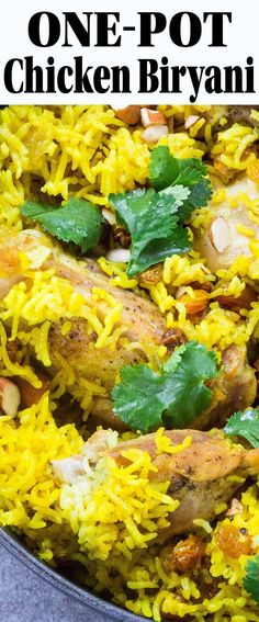 Chicken Biryani! One-pot South Asian rice pilaf seasoned with turmeric and ginger. Ready in under an hour. Gluten-free.