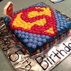 Superman smarties cake