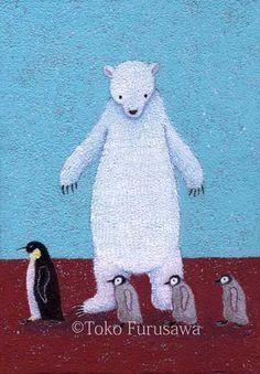 使用画材 : キャンバス、アクリル(原画)サイズ  : SM(227×158mm)ざらりとしたマチエールですペンギン親子のお通りです。*透かしの名...|ハンドメイド、手作り、手仕事品の通販・販売・購入ならCreema。