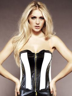 Colour Block Corset - This gorgeous black & pink PVC corset features a sexy striped design that really accentuates your curves.