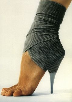 No need to throw away a shoe with a broken heel. Just strap the heel to your foot with an ace bandage.