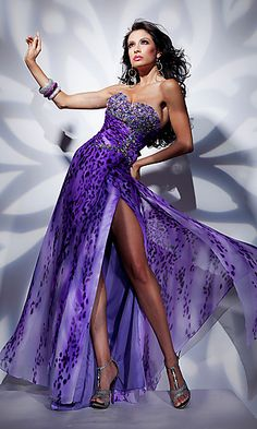 Strapless Purple Prom Gown by Tony Bowls Paris at PromGirl.com