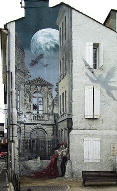 """Mur Peint """"Mémoires du XXe Ciel"""" (Yslaire) - Base Architecture et Urbanisme Grand Angoulême"""