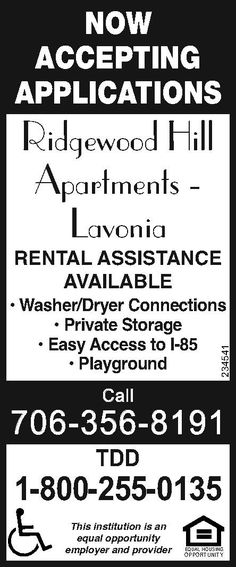 RENTAL ASSISTANCE AVAILABLE    • Washer/Dryer Connections    • Private Storage    • Easy A... | Ridgewood Hill Apartments - Lavonia, GA #georgia #LavoniaGA #shoplocal #localGA
