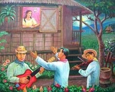Harana - a traditional form of courtship in the Philippines wherein men introduced themselves and/or wooed women by singing underneath her window at night. Visit Philippines, Philippines Culture, Philippines Travel, Filipino Art, Filipino Culture, Pokemon Firered, Philippine Art, Filipiniana, Historia