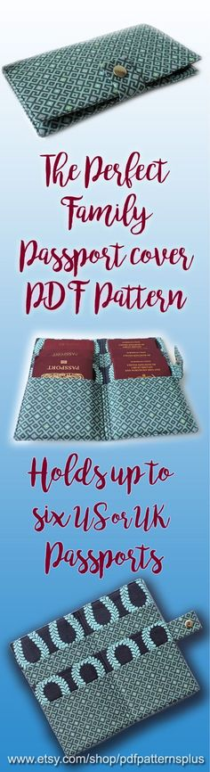 PDF sewing pattern for the perfect family passport holder. www.etsy.com/shop/pdf