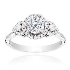 1.16 ct Round Brilliant Cut Diamond Engagement Ring 18k White Gold E-SI2 #DiamondsByAl #SolitairewithAccents