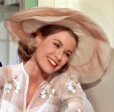 Grace Kelly - wedding dress in HIGH SOCIETY ` beautiful embroidered gown with multi-layered chiffon hat