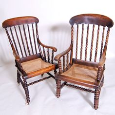 """Pair of Ladies and Gentlemans Size Turned Chairs - 19th century 23"""" / 58 cm and 21"""" / 53 cm 20"""" / 51 cm 42"""" / 107 cm 21"""" / 53 cm  £1250 Pair or Can Be Split"""