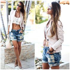 Looks perfeitos com blazer , shorts jeans boyfriend e cropped top