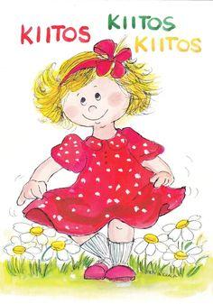 Virpi Pekkala: Kiitos, kiitos, kiitos Silly Cats, Doll Eyes, My Heritage, Whimsical Art, Kids Cards, Book Illustration, Art Boards, My Memory, Fashion Dolls