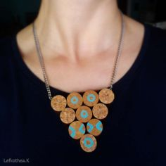 Cork neckless Cork, Turquoise Necklace, Jewelry, Fashion, Jewellery Making, Moda, Jewels, Fashion Styles, Teal Necklace