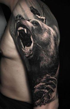 The Most Popular Animal Tattoo Ideas Mountain Sleeve Tattoo, Wolf Tattoo Sleeve, Armor Tattoo, Arm Band Tattoo, Sleeve Tattoos, Bear Claw Tattoo, Black Bear Tattoo, Black White Tattoos, Wicked Tattoos