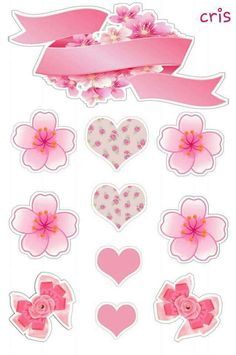 Printable Stickers, Planner Stickers, Bolo Floral, Cupcake Toppers Free, Label Shapes, Shabby Chic Theme, Washi Tape Planner, Silhouette Curio, Tissue Paper Flowers