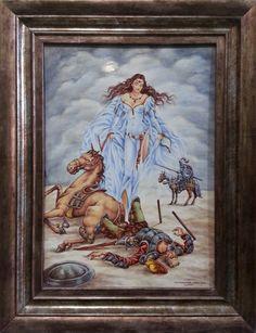 Visión de Dulcinea, la mujer más hermosa del mundo consolando a Don Quijote. Don Quijote vencido por el Caballero de la Blanca Luna.