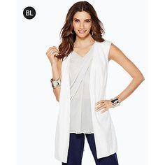 STYLE NOTE: Chico's NEW Black Label White Linen Long Sleeveless Jacket Vest Women's $129