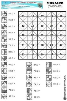 Mosaico - divisiones Mental Maths Worksheets, Maths Puzzles, Math Resources, Math Games, Math Activities, Algebra Basica, Math Division, Montessori Math, Math Multiplication