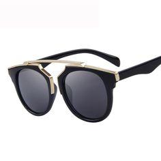 Envoltura de plástico de metal cat eye glasses gafas de sol de la vendimia mujeres hombres diseñador de la marca classic retro gafas de sol recubrimiento