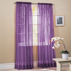 2 Piece Solid Lavender Purple Sheer Window Curtains