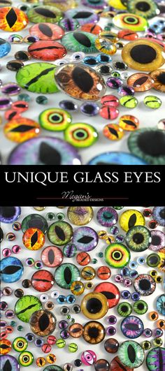 Originally designed, handmade fantasy eye art glass eyes for jewelry making, polymer clay sculptures, taxidermy, and more at http://www.megansbeadeddesigns.com/products/glass-cabochons