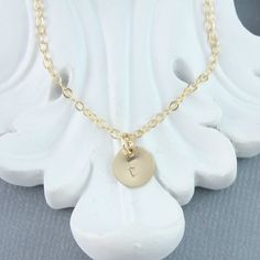 Teeny Tiny Gold Filled Initial Necklace Dainty by JetSilverBeads, $18.00
