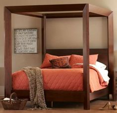 Love this bed. Canali Poster Bed. Crafted of solid, hardwood mahogany and veneers. $999