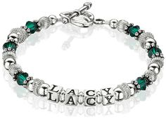 Eternal Sterling and Crystal Mother's Bracelet - Our variation of the Simply Silver Mother's Bracelet includes a pop of sparkling color. Choose your child's birthstone - or just your favorite color! You may choose 1-3 strands with one name or word per strand.