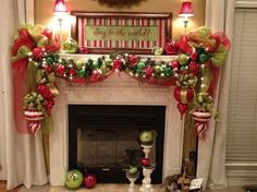 deco mesh crafts | DIY & Crafts - Poly Deco Mesh Creations - Mantel decorated for ...