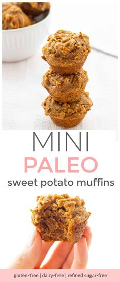 These mini sweet potato muffins make a delicious snack for the whole family! They're packed with nutrients, low in sugar and super moist and flavourful. The perfect little bite for babies, toddlers, older children and adults! Sweet Potato Muffins, Sweet Potato And Apple, Paleo Sweet Potato, Mashed Sweet Potatoes, Pumpkin Oatmeal Muffins, Toddler Muffins, Gluten Free Peach, Yummy Snacks, Kid Snacks