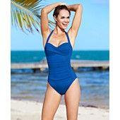 La Blanca Swimsuit, Halter Ruched One-Piece