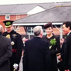The Duke and Duchess of Cambridge chatting to former Guardsmen of the Regiment at the St Patricks Day Irish Guards annual parade in Aldershot