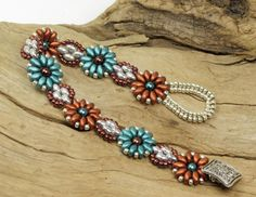 SUPERDUO FLOWER BRACELET-Copper Turquoise by CinfulBeadCreations