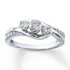 I like this one! Kay-3-Stone Diamond Ring 1/3 ct tw Round-cut 10K White Gold