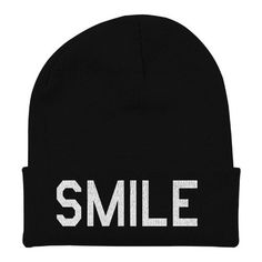 Smile Word Beanie Hipster Beanie Slouchy Beanie Knit Cap HL0037 SMILE ($15) ❤ liked on Polyvore featuring accessories, hats, knit slouch hat, hipster hat, beanie hat, knit cap and slouchy beanie