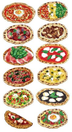 Pizza Illustration by Ayu Akiyama Delicious Design Tokyo, Japan Speisenkarten Designs, Food Illustrations, Illustration Art, Pizza Art, Pizza Food, Food Sketch, Watercolor Food, Food Painting, Food Icons