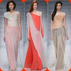 Vionnet Couture FW '14  Stylist Picks: I love the deconstructed and shredded pleats on this series. Something about the busts remind me of those tissue paper flowers we would make as kids. Plus I am sucker for fringe. And coral.  Source: oncewheniwas.com