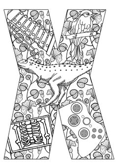 Things that start with X - Free Printable Coloring Pages