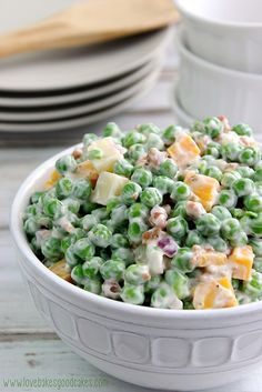 Creamy Pea Salad by Love Bakes Good Cakes