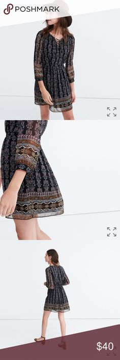"Madewell Lace-Up Dress In Burnished Floral A cool lace-up neckline and artful print give this flirty dress that '70s vibe we love. A just-add-boots-and-go type of deal.  Waisted. Falls 35"" from highest point of bodice. Poly. Lined. Dry clean. Madewell Dresses"