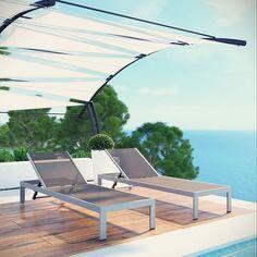 Shore Outdoor Patio Chaise Outdoor Patio Aluminum Set of 2 in Silver Gray