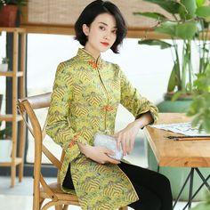 53975656a Mandarin Collar Knee Length Bodycon Chinese Style Wind Coat – IDREAMMART  Collar Pattern, Collar Top