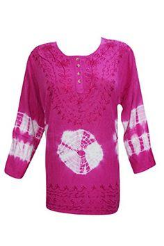 Womens Tunic Top Tie Dye Embroidered Rayon Pink Hippie Ku... http://www.amazon.com/dp/B01FHV9N72/ref=cm_sw_r_pi_dp_XNloxb07S9TEB