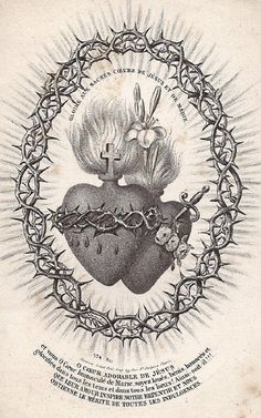 Glory to the Sacred Hearts of Jesus and Mary A 19th century Parisian print of the Sacred Hearts of Jesus and Mary surrounded by a crown of thorns.