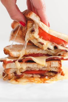 Made with fresh heirloom tomatoes, crispy bacon, and gruyere cheese, this balsamic bacon and tomato grilled cheese will never disappoint! Pullman Bread, Cheese Ingredients, Gruyere Cheese, Piece Of Bread, Balsamic Glaze, Sliced Tomato, Heirloom Tomatoes, How To Make Cheese, Mayonnaise