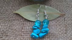 Blue Earrings, Turquoise Earrings, Howlite Earrings, Dyed Howlite, Crystal Earrings, OOAK Earrings