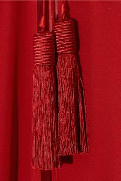 Red sheer silk-chiffon Open sides Tasseled ties at front silk Dry clean Pantone Red, Pantone Color, Black Skinny Pants, Black Skinnies, Saint Laurent, Red Aesthetic, True Red, Red Silk, Color Of The Year